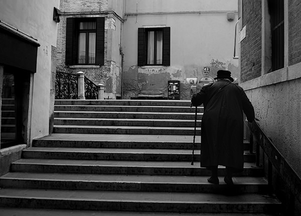 Genius Loci #16 by Jeremy Chin - Old Woman, Stairs, Venice