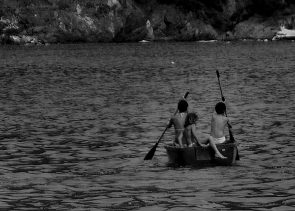 Sprouts #3 by Jeremy Chin - Children Paddling Boat At Sea, Monterosso, Cinque Terre, Italy